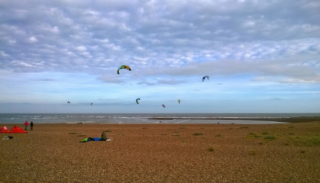 Shingle Street is a popular place for kite surfers
